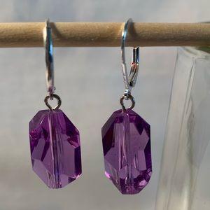 NEW Avon beautiful purple faceted earrings